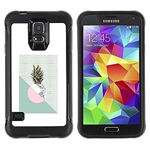 LASTONE PHONE CASE / Suave Silicona Caso Carcasa de Caucho Funda para Samsung Galaxy S5 SM-G900 / Pineapple Moon Weed Green White