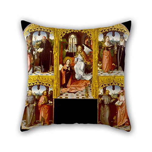 [Bestseason 20 X 20 Inches / 50 By 50 Cm Oil Painting Master Of Saint John The Evanglist - The Annunciation With Saint Lazarus And Antony Abbot, Catherine Of Alexandria And Chiara, Anthony Of Throw] (Master Chief Suit For Sale)