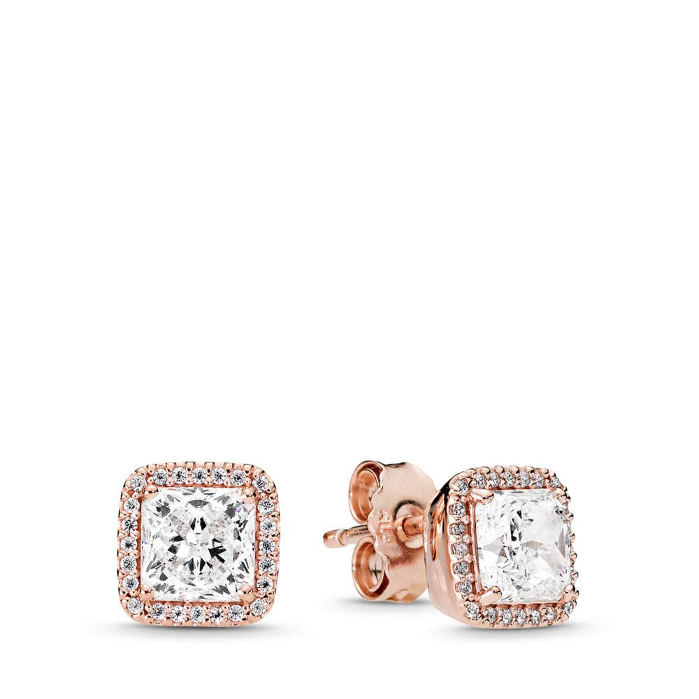 PANDORA Timeless Elegance Stud Earrings, PANDORA Rose, Clear Cubic Zirconia, One Size by PANDORA