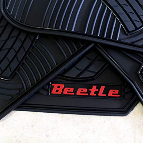 Floor Mats for VW Beetle OEM Genuine - All Weather - Heavy Duty - (2012,2013,2014,2015,2016,2017,2018) Complete Set (red Letters)