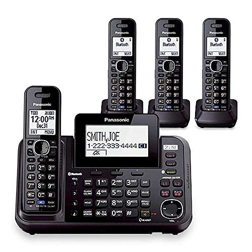 Panasonic KX-TG9542B Dect 6.0 2-Line Cordless Phone w/ Link-to-Cell & 2-Handsets + 2-Pack 2 Line Handset For KX-TG954X (Best 2 Line Cordless Phone)