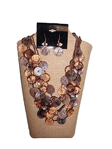 IVETH 5 Strands Shell and Resin Multi Strands Necklace Set Multi Color (Brown Copper)