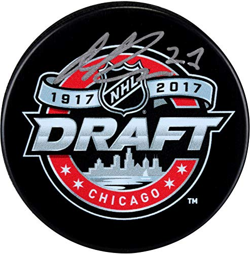 Michael Rasmussen Detroit Red Wings Autographed 2017 NHL Draft Logo Hockey Puck - Fanatics Authentic Certified Autographed Red Wings Puck