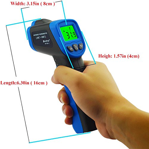 HOLDPEAK 981C Non-Contact Digital Laser Infrared Thermometer Temperature Gun Instant-read -58 to 1022℉ (-50 to 550℃) with 9V Battery and Emissivity 0.1-1.0(Adjustable) by H HOLDPEAK (Image #3)