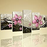 Extra Large Flower Canvas Wall Art Picture Modern Painting On 5 Pieces Print, Extra Large Flower Wall Art, Living Room, Islamic Green