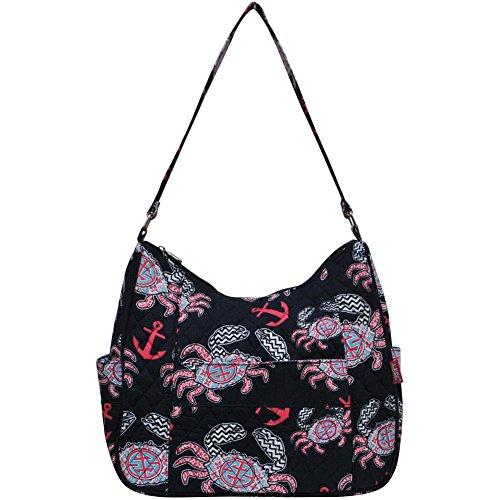 Ngil Quilted Cotton Hobo Shoulder Bag (Crab Navy Blue)