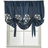 WUBODTI Embroidered Balloon Window Curtain,Tie Up Shades for Kitchen Windows Navy Blue Blackout Thermal Insulated Room Darkening Drapes for Window Treatments,46x63 Inch Long