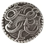 """Viking Drage Entwined Dragon Button - Solid Pewter 11/16"""" - 17MM"""