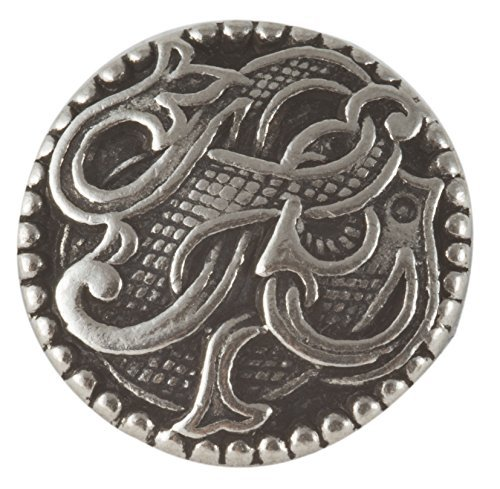 Viking Drage Entwined Dragon Button - Solid Pewter 11/16