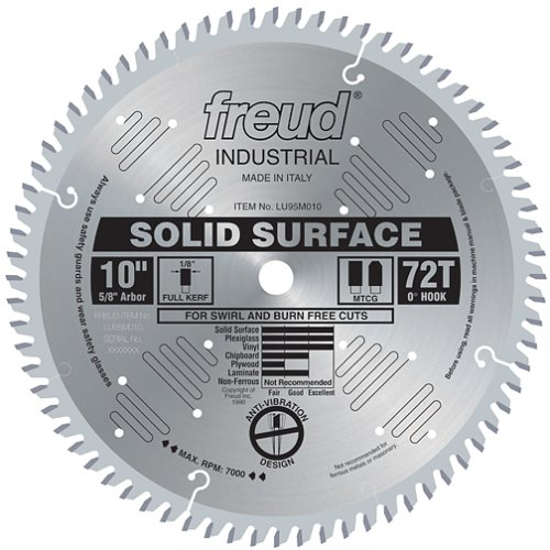 Freud LU95M010 10-Inch 72 Tooth MTCG Solid Surface Cutting Saw Blade with 5/8-Inch Arbor