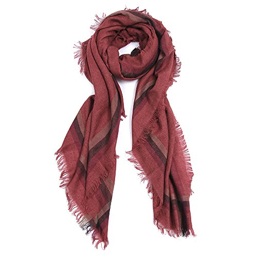 Women Tartan Scarf Stole Plaid Blanket Checked Scarves Wraps Shawl (RED) by PANTONIGHT (Image #5)
