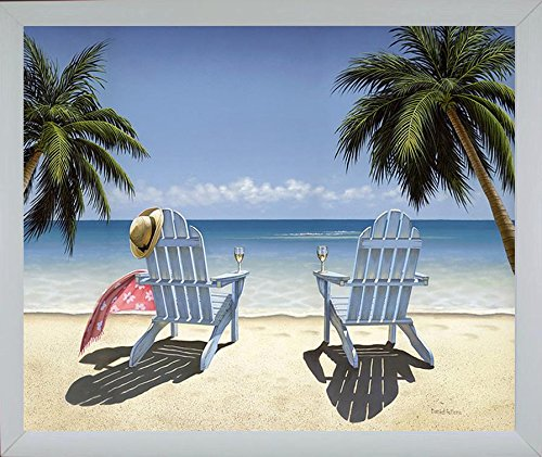 Buyartforless Framed Cocktails for Two - Chairs on Tropical Beach by Daniel Pollera 28x22 Coastal Retreat Wide Ribbed White Frame (Tropical Retreat)