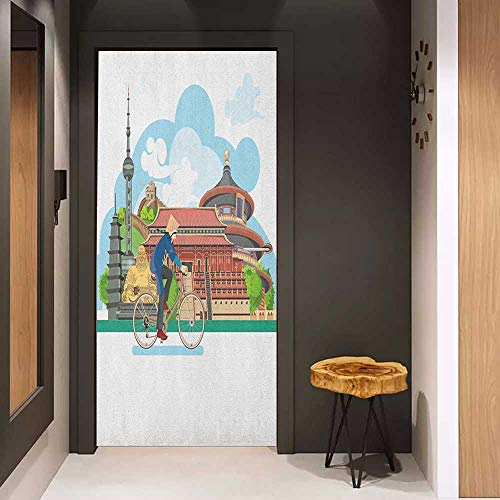 Onefzc Automatic Door Sticker Ancient China Chinese Elements Traditional Architecture and Costumes Behind a Cycling Man Easy-to-Clean, Durable W31 x H79 Multicolor