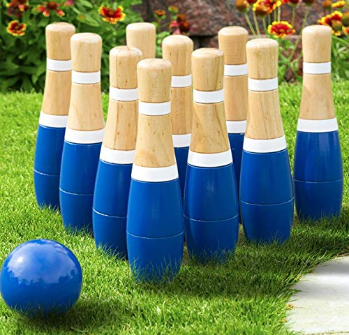 (Hey! Play! Trademark Global - Toys Lawn Bowling Game/Skittle Ball- Indoor and Outdoor Fun for Toddlers, Kids, Adults -10 Wooden Pins, 2 Balls, and Mesh Bag Set Limited Edition)