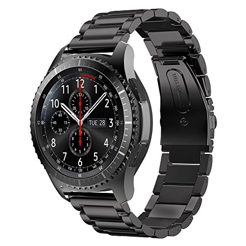 Price comparison product image Samsung Gear S3 Classic Frontier Band Omter Premium Solid Stainless Steel Watch Band Link Bracelet Strap for Samsung Gear S3 Classic Frontier Sports Smart Watch(Steel Black)