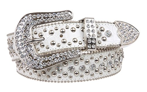 Ladies Rhinestone Studs Croco Print Leather Belt Color: White Size: M/L - 35