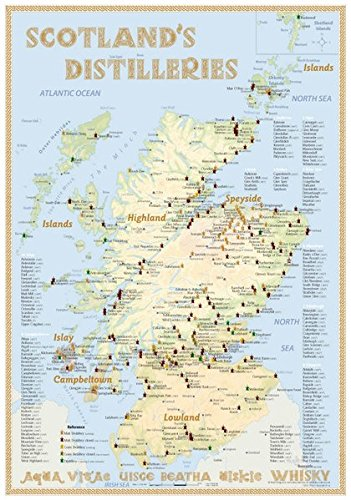 Whisky Distilleries Scotland - Tasting Map 24x34cm: The Scottish Whisky Landscape in Overview