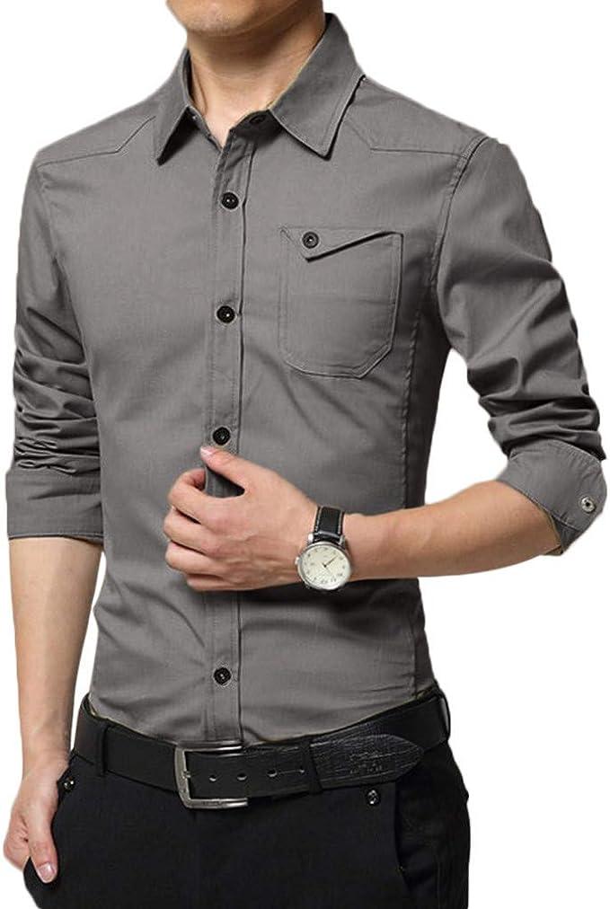 GLVSZ Mens Business Casual Long Sleeve Button Down Dress