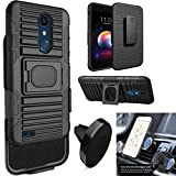 Phone Case Compatible for LG Xpression-Plus (5.3' Screen Display) Holster Cover with Magnetic Car Mount (Holster-Black Case/Magnetic Car Mount)