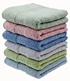 "Cleanbear Hand-Towel Face-Towel Set,100% Cotton, High Absorbent, size29""x13"", 6-pack 6 Colors(h601)"