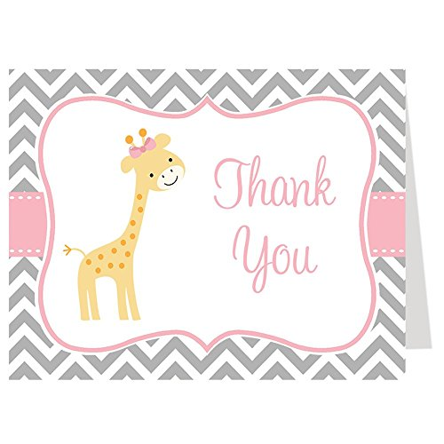 Chevron Giraffe, Baby Shower Thank You Cards, Chevron, Giraffe, Pink, Gray, Boy, Baby Shower, Set of 50 Printed Folding Thank You Notes with White Envelopes