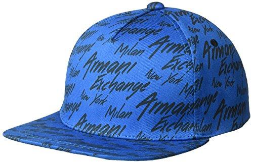 Armani Exchange Men's All Over Logo Cap, Mykonos/ALLOV.Black, TU (Caps Armani Exchange Black)