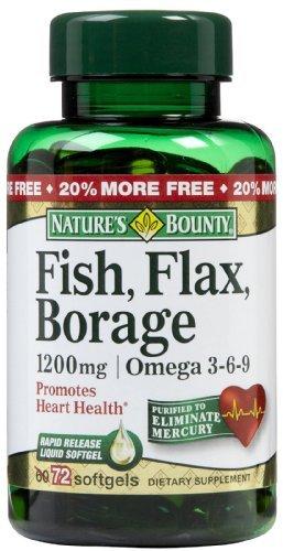 (Nature's Bounty Fish Flax Borage 1,200 mg Softgels, 60)