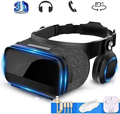 Mobile VR, Universal Gafas de Realidad Virtual Transportar El Cable de Datos, Auricular VR Auricular Compatible con iPhone y Android Teléfono,Negro: Amazon.es: Hogar