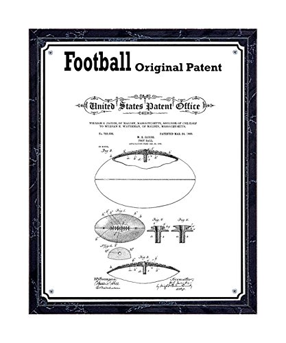 JS Original Football Patent Printed on Metal Plate, Mounted on Black Marble-Finish Wooden Plaque