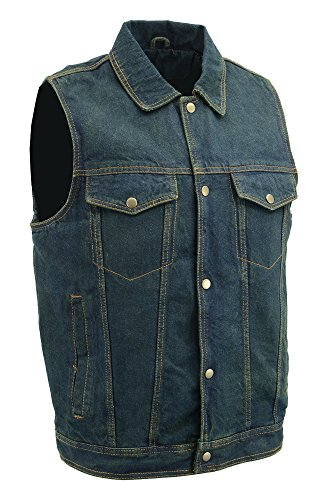 M-BOSS MOTORCYCLE APPAREL-BOS13006-BLUE-Mens blue denim jean vest.-BLUE-SMALL by M-BOSS MOTORCYCLE APPAREL