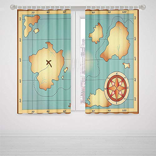 iPrint Bedroom Pink Curtains Island Map Ancient Treasure World Map Design with Compass Navigation Adventure Hidden Land High-Precision Blackout CurtainCream (Homestyles Black Kitchen Island)