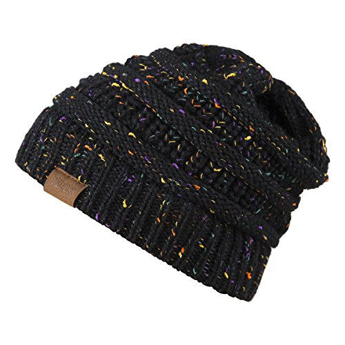 Slouchy Beanie Hat for Men and Women 2 Pack Winter Warm Chunky Soft Oversized Cable Knit Cap by REDESS