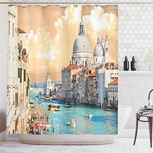 (Ambesonne European Cityscape Decor Shower Curtain Set, Grand Canal in Venice Italy Historical European Cityscape Town Tower Boho Print, Bathroom Accessories, 75 Inches Long, Multicolor)