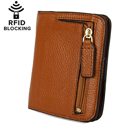 Tan Leather Womens Mini - YALUXE Women's RFID Blocking Small Compact Leather Wallet Ladies Mini Purse with ID Window Brown RFID