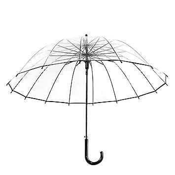 LEYIJU Paraguas Transparente Grueso, Paraguas Automático De Mango Largo Recto, Paraguas De Viaje para