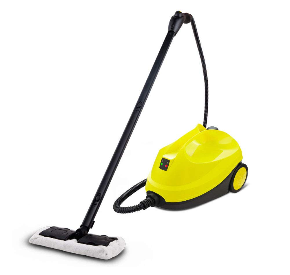 Q&Z Home Steam Cleaner,Multi-Purpose Hot Pressurized Steam with 12 Accessories Automatic Jet Handle 108° High Temperature Steamer for Stain Removal Windows Floor Carpet Car Seats Yellow