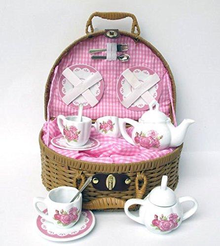 Delton Laura Rose Porcelain Tea Set with Basket 14 Piece Set