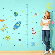 Height Measurement Rocket Space Planets Stars Moon WallStickerDecalHomeDecorPVCMuralsWallpaperHouseArtPictureLivingRoomAdultSeniorTeenKidsBabyBedroomDecoration