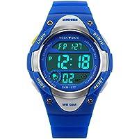 Kids Outdoor Sports Children's Waterproof Wrist Dress Watch With LED Digital Alarm Stopwatch Lightweight Silicone...