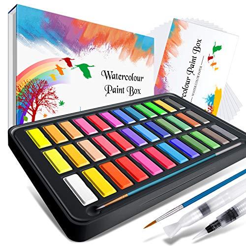 Kids YOTINO Watercolor Paint Set 36 Vibrant Color Cake Set with Bonus Watercolor Brush Pen Carbonized Pencil White watercolor paint and Watercolor Paper Perfect for Students Beg