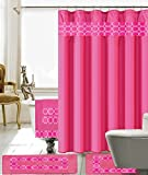 Hot Pink Shower Curtain Rings 18 Piece Embroidery Banded Shower Curtain Bath Set 1 Bath Mat 1 Contour 1 Shower Curtain 12 Matching Fabric Shower Rings 3 Pcs Matching Towel Set 100% Polyester (Hot Pink)