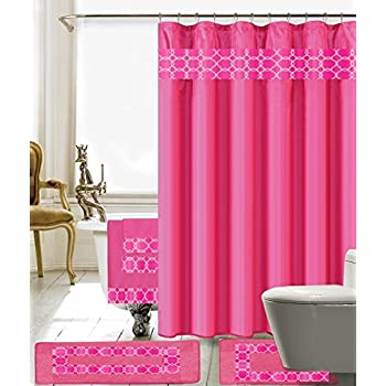 Amazon.com: Alicemall 3D Flower Shower Curtain Beautiful Pink Rose ...