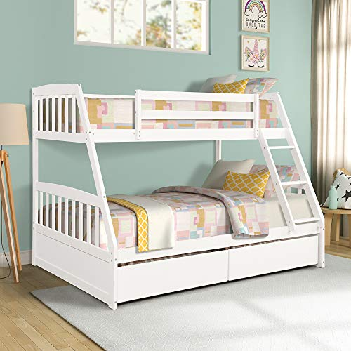 Twin Over Full Bunk Bed with Storage Drawers, WeYoung Solid Wood Bunk Bed Frame with 2 Raised Panel Bed Drawers, Separate to Twin/Full Bed (White)