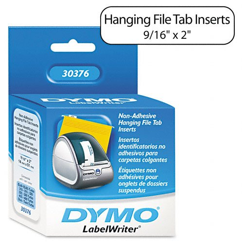 DYMO : Hanging File Folder Tab Inserts for Label Printers, 2 x 9/16, White, 260/Box -:- Sold as 2 Packs of - 1 - / - Total of 2 - Printer Hanging Label Dymo