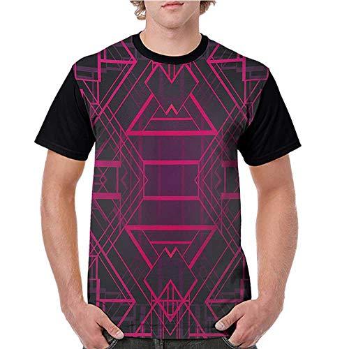 Mens Raglan Baseball T-Shirt,Indigo,Geometric Modern Design with Lines Triangle Square Details Art Print,Pink Burgundy and Purple S-XXL Printed Crew Neck Casual Tee Tops