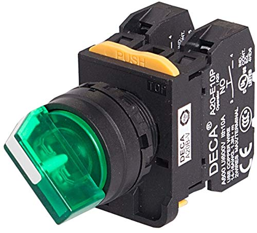 Illuminated A20F-2E01Q4G 2 Positions Maintained 1NC 10A 110V 22mm Selector Switch Green Knob /& LED 24V AC//DC