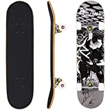"""Hikole Skateboard - 31"""" x 8"""" Complete PRO Skateboard - Double Kick 9 Layer Canadian Maple Wood Adult Tricks Skate Board for Beginner, Birthday Gift for Kids Boys Girls 5 Up Years Old"""