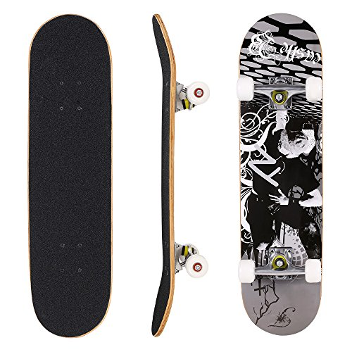 ANCHEER Pro Skateboard Canadian Maple Wood Full Size Complete Board 31 Inch