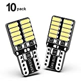XSPEED 194 LED Light Bulb Error Free 800Lm Extremely Bright 20-SMD 4014-Chips 168 2825 W5W T10 LED Bulbs For Interior Map Dome Side Marker Lights License Plate Light, Xenon White 6000k Pack of 10