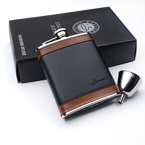 Savage Flask Gift Set 6oz Flask Wrapped with Black and Brown Leather and Funnel 18/8 Stainless Steel by Savage